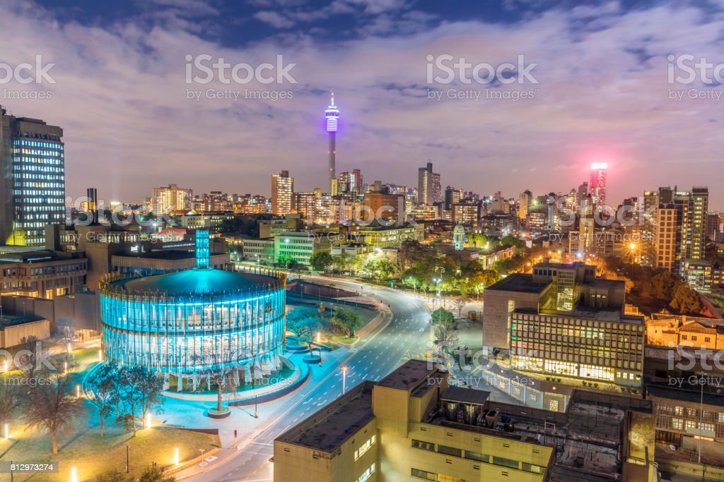Johannesburg evening cityscape of Council Chamber and Hillbrow stock photo
