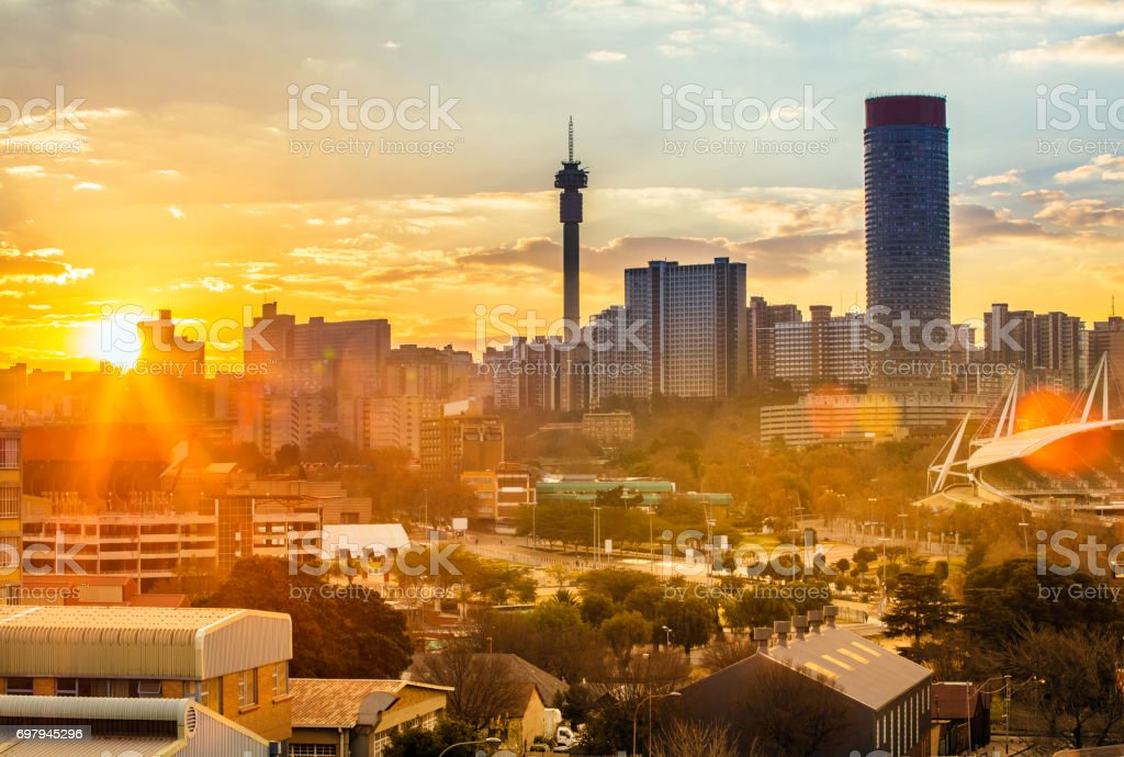 Johannesburg evening cityscape of Hillbrow stock photo