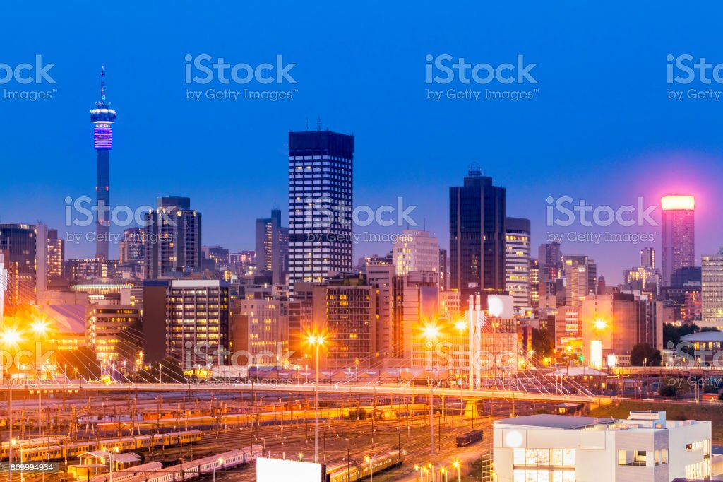 Johannesburg evening cityscape with Nelson Mandela Bridge stock photo