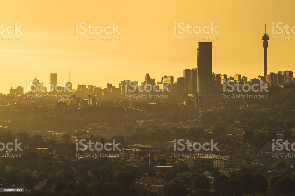 Johannesburg Golden Sunset stock photo