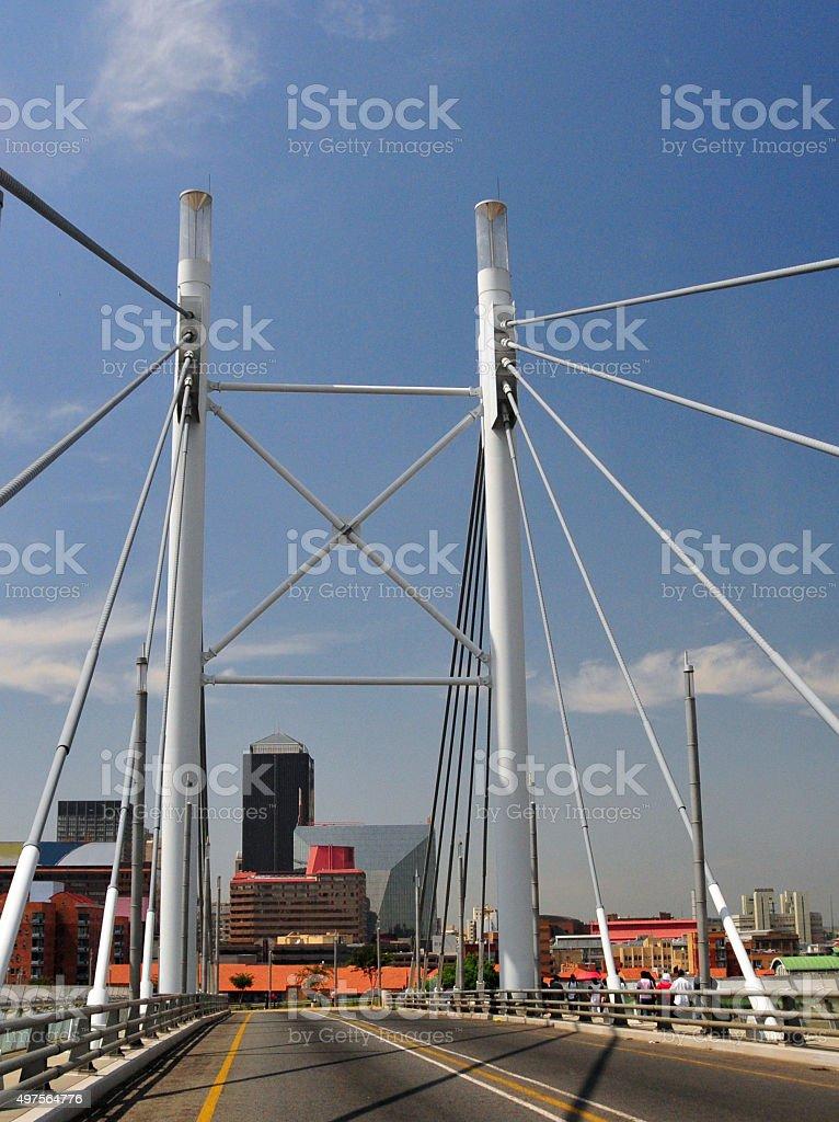 Johannesburg - Nelson Mandela Bridge and CBD stock photo