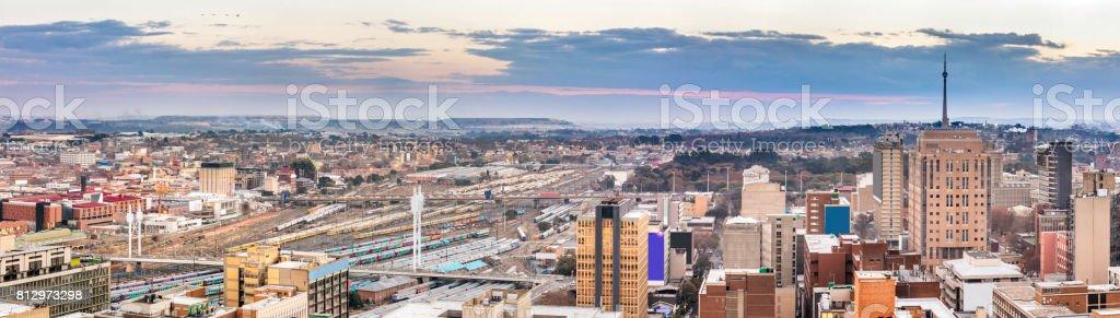 Johannesburg panorama and Nelson Mandela bridge stock photo