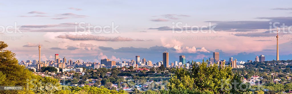 Johannesburg panorama from the west stock photo