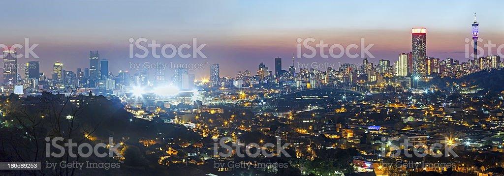 Johannesburg panorama with Ellis Park Stadium stock photo