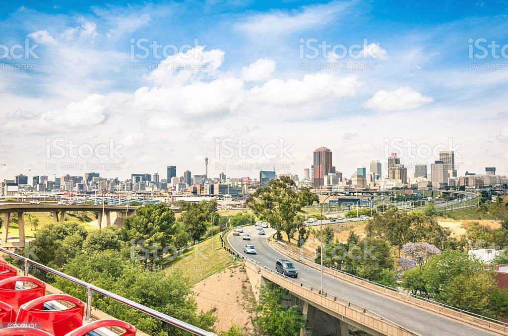 Johannesburg skyline and urban buildings from the highways stock photo