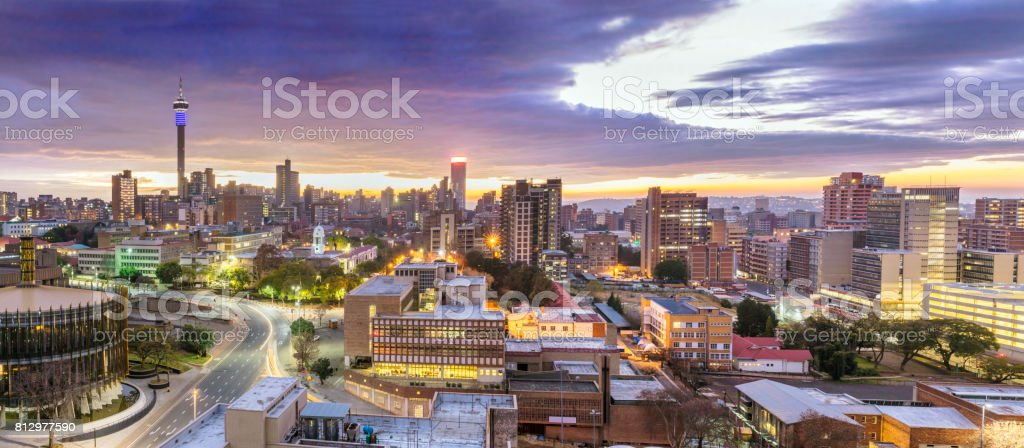 Johannesburg sunrise cityscape with the Council Chamber stock photo
