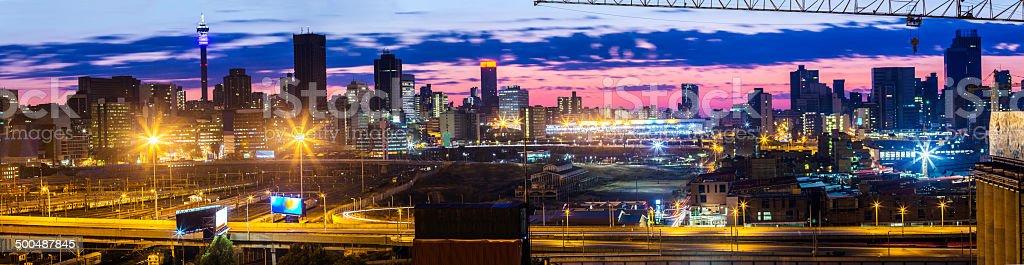 Johannesburg sunrise from the west stock photo