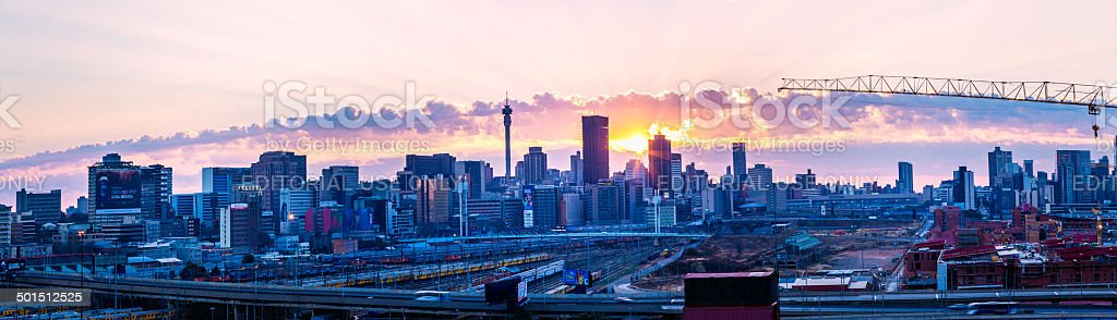 Johannesburg sunrise panorama stock photo