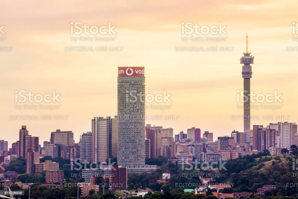 Johannesburg sunset cityscape panaroma with cloudscape stock photo