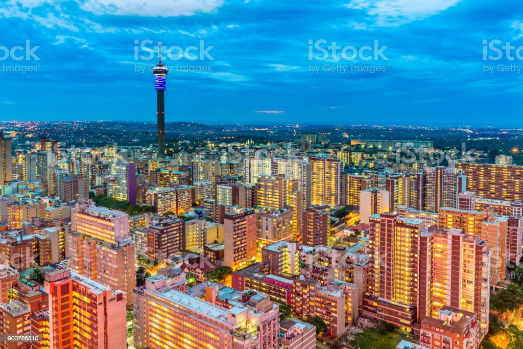Johannesburg sunset cityscape with Hillbrow tower stock photo