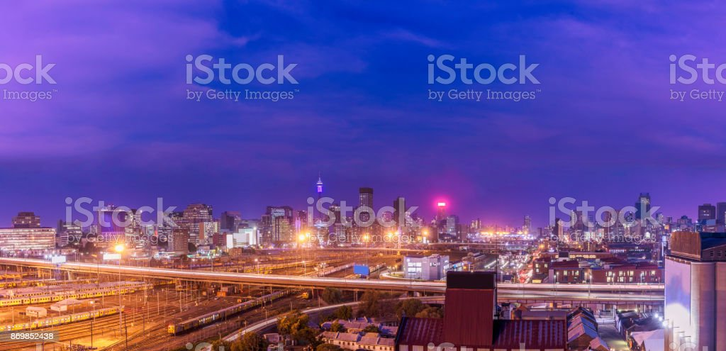 Johannesburg sunset cityscape with the traffic stock photo