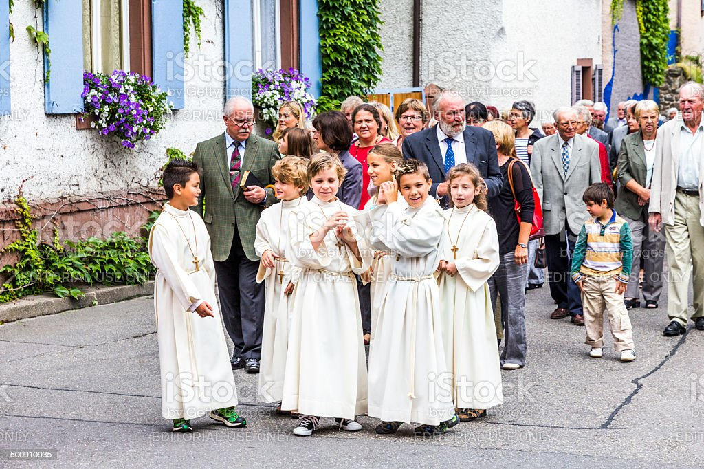 Johannis procession in Oberrrotweil, Germany stock photo