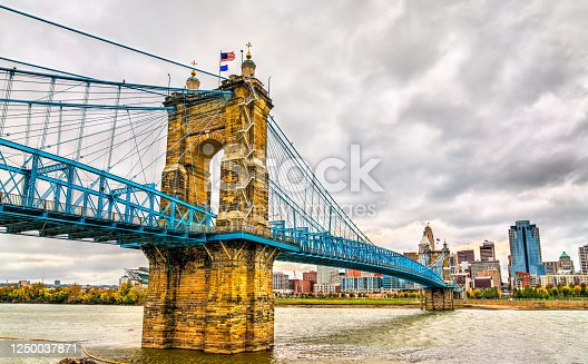 John A. Roebling Suspension Bridge between Cincinnati, Ohio and Covington, Kentucky spanning the Ohio River. United States