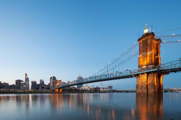 John A. Roebling Suspension Bridge stock photo
