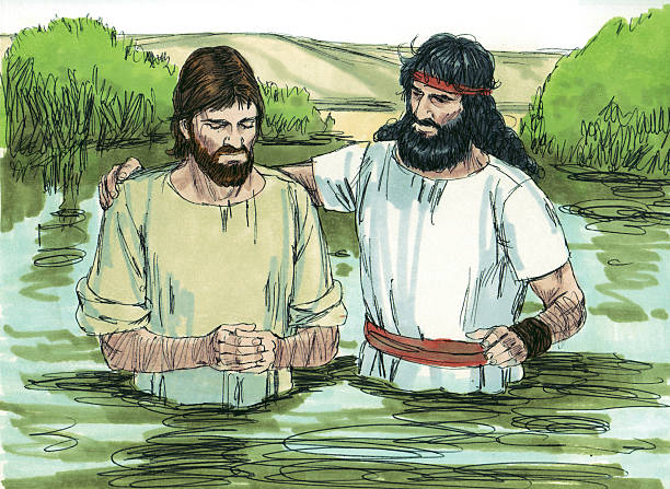 John Baptizes Jesus stock photo
