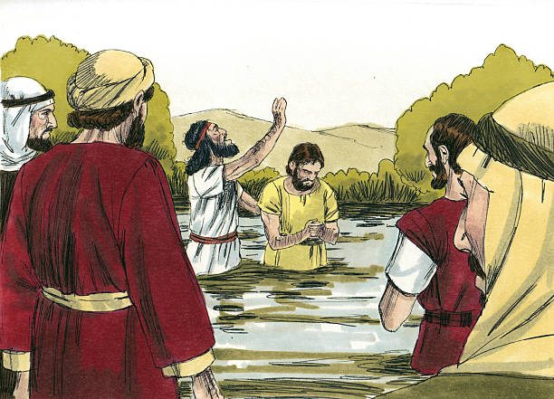 John Baptizing in the Jordan River stock photo