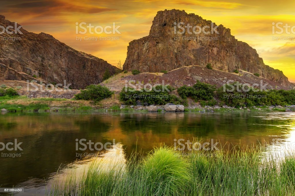 John Day River during Sunrise stock photo