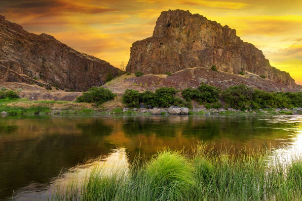 John Day River during Sunrise stock photo