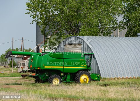 John Deere Agricultural Equipment parked on a farm in Malta, Montana.