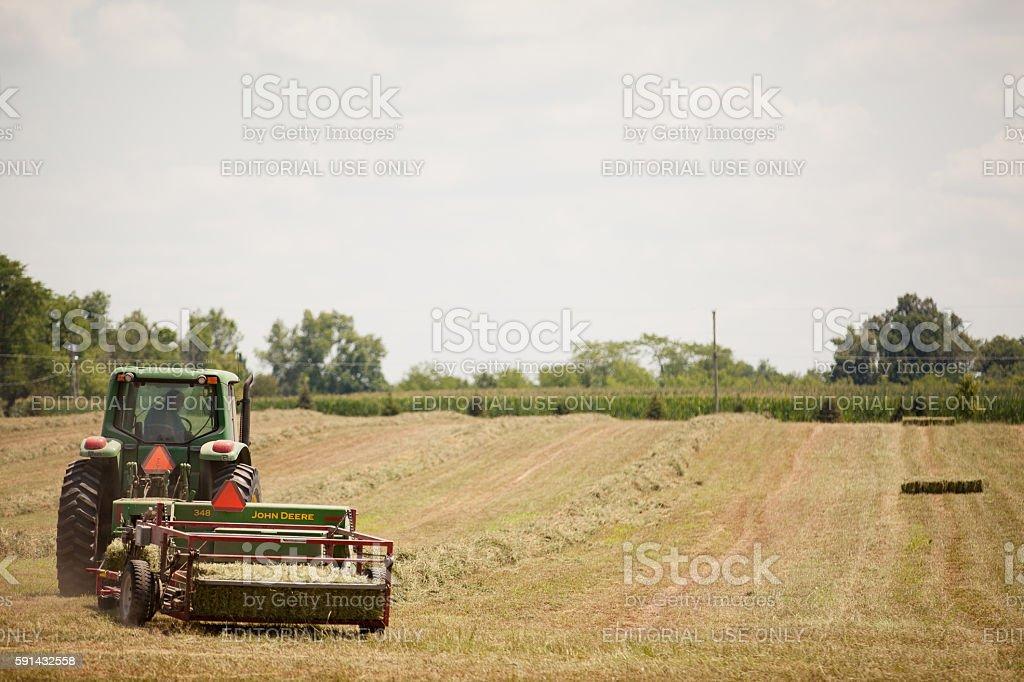John Deere Alfalfa Harvest stock photo
