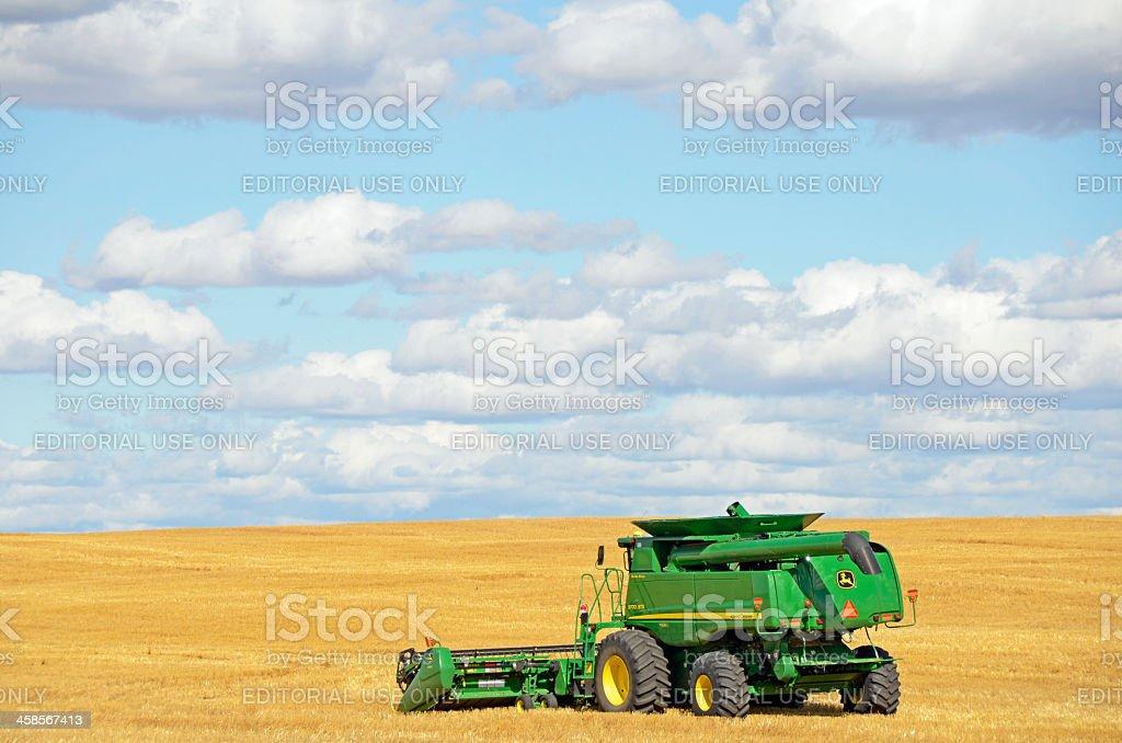 John Deere Combine  ... Side View stock photo