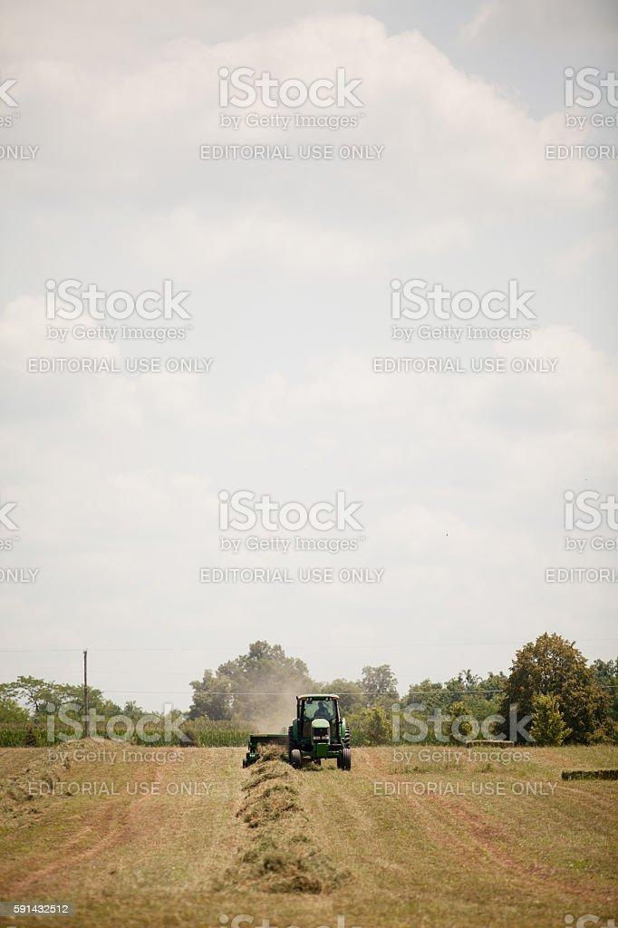 John Deere Harvesting Hay stock photo