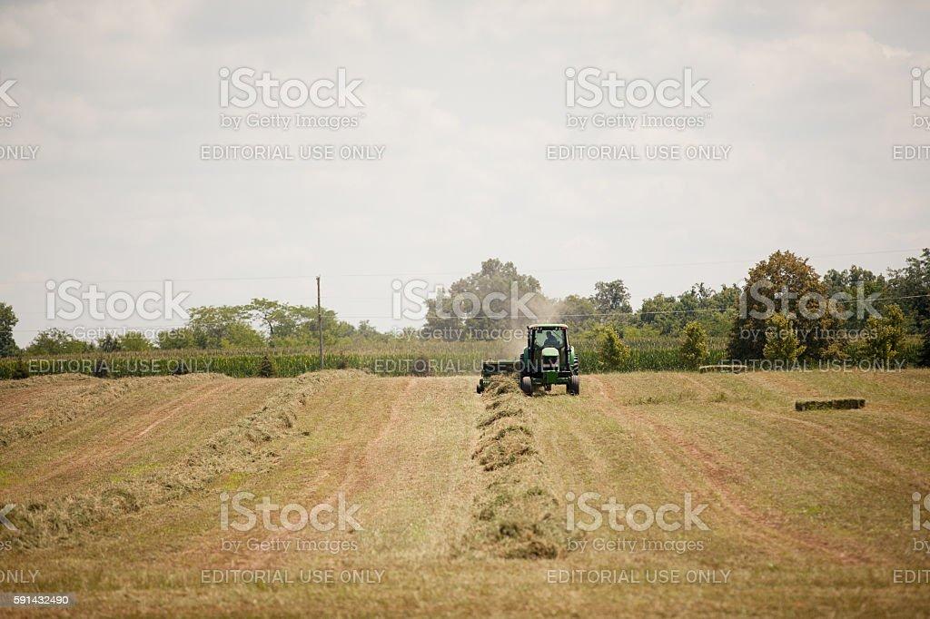 John Deere Harvesting stock photo