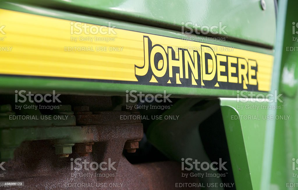 John Deere Logo with Horizontal Yellow Stripe stock photo
