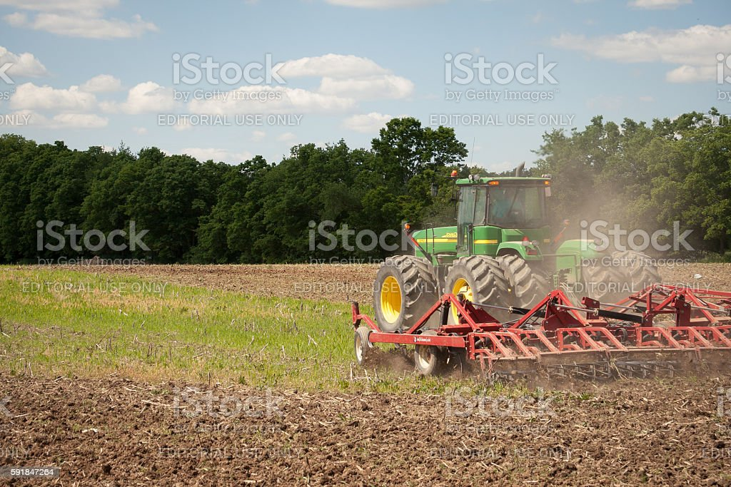 John Deere Planting Crops stock photo
