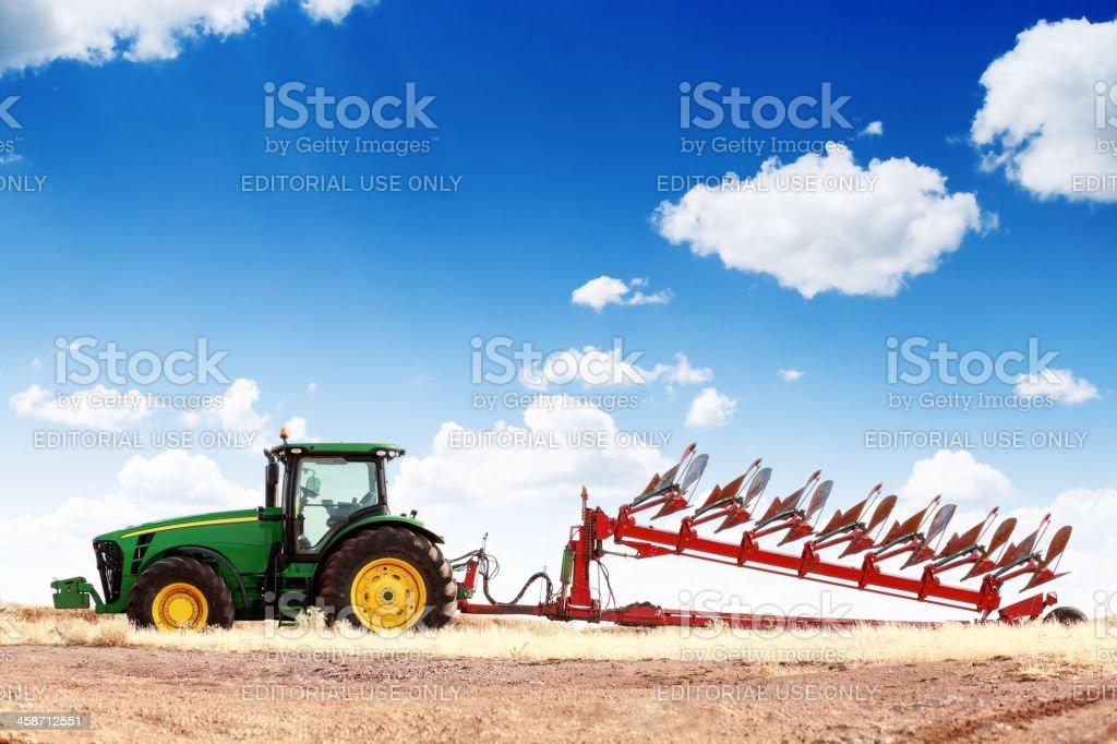 John Deere Tractor in Field stock photo