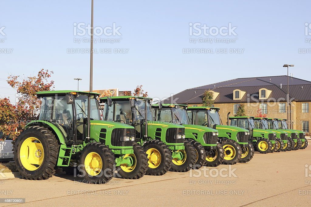John Deere Tractors for Sale stock photo