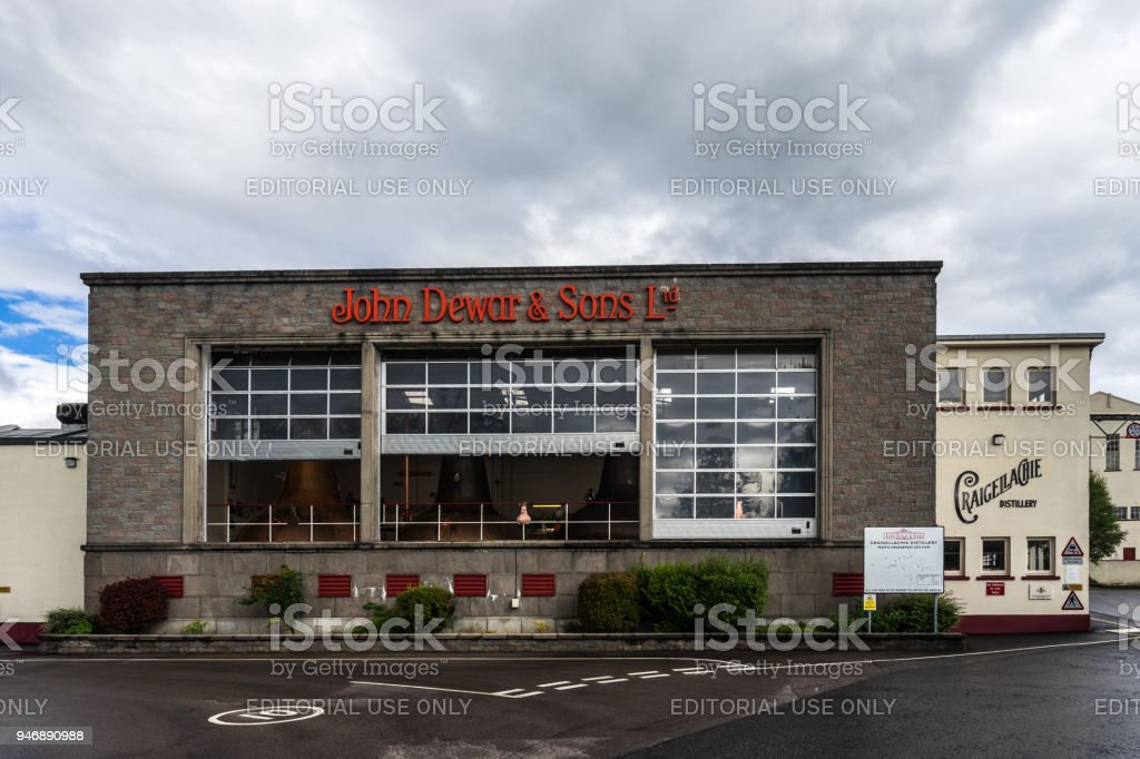 John Dewar distillery and headquarters, Scotland, Britain stock photo