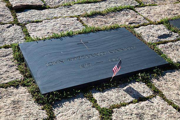 John F Kennedy Gravestone at Washington Memorial, Arlington Cemetery stock photo