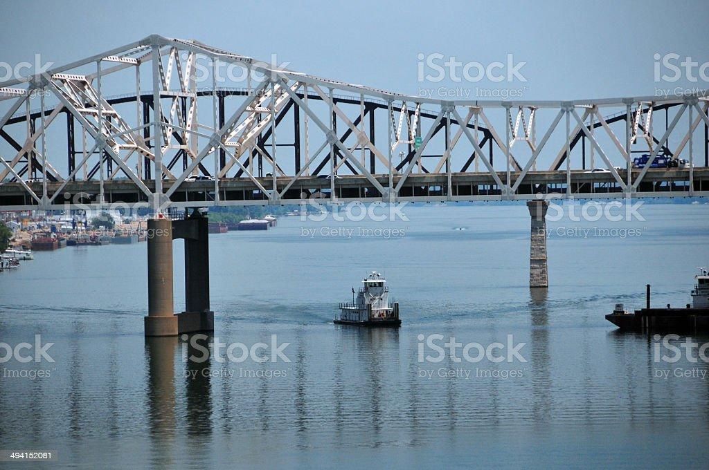 John F. Kennedy Memorial Bridge, Louisville, Kentucky and Jeffersonville, Indiana royalty-free stock photo