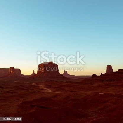 The majestic landscape at John Ford's Point in Monument Valley Navajo Tribal Park at sunset in Arizona, USA.