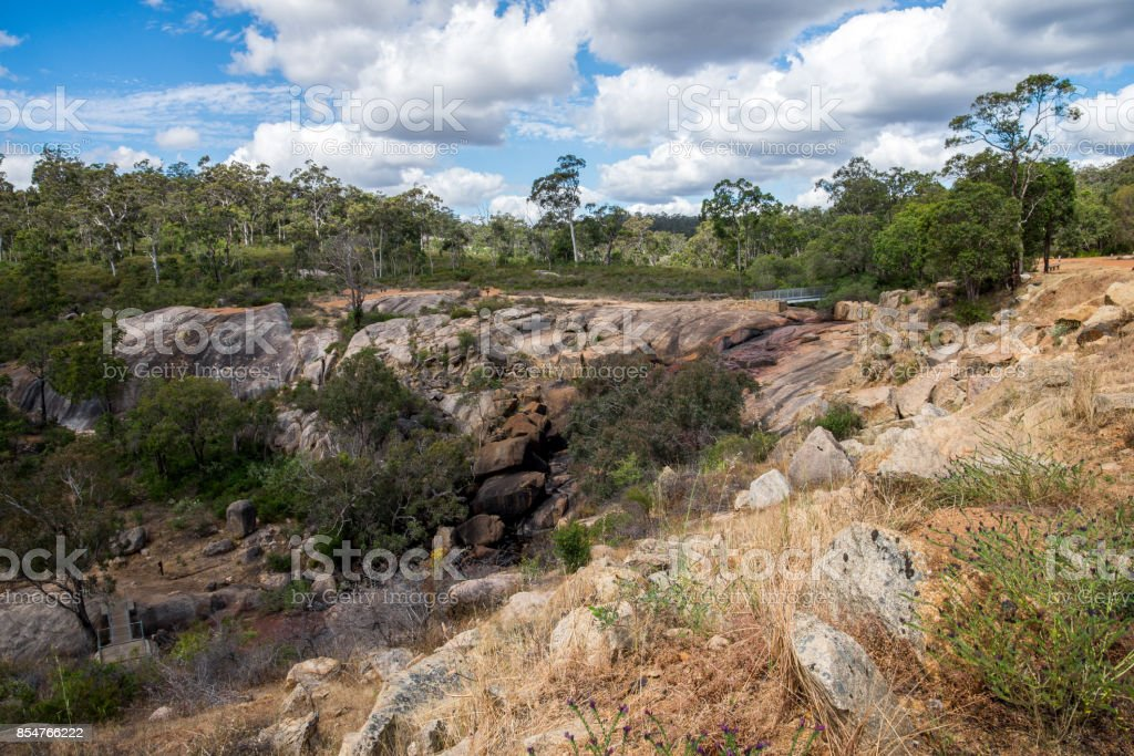 John Forrest National Park rocky landscape near waterfall in Summer, Perth Hills, Western Australia stock photo