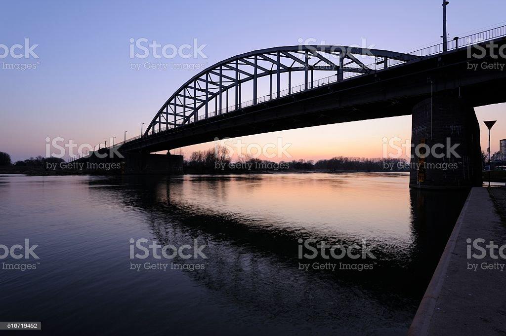 John Frost Bridge over Lower Rhine at Arnhem after sunset foto