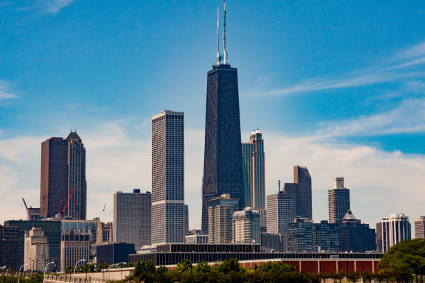 john hancock center tower chicago - edificio hancock chicago fotografías e imágenes de stock