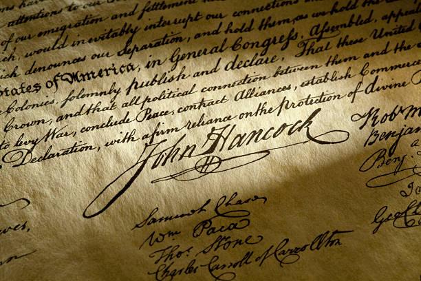 John Hancock Signature on The USA Declaration of Independence stock photo