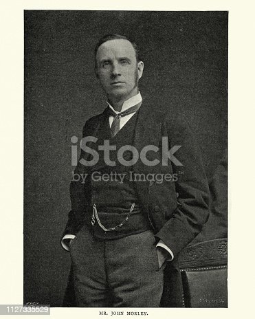 Vintage photograph of John Morley, 1st Viscount Morley of Blackburn, a British Liberal statesman, writer and newspaper editor.