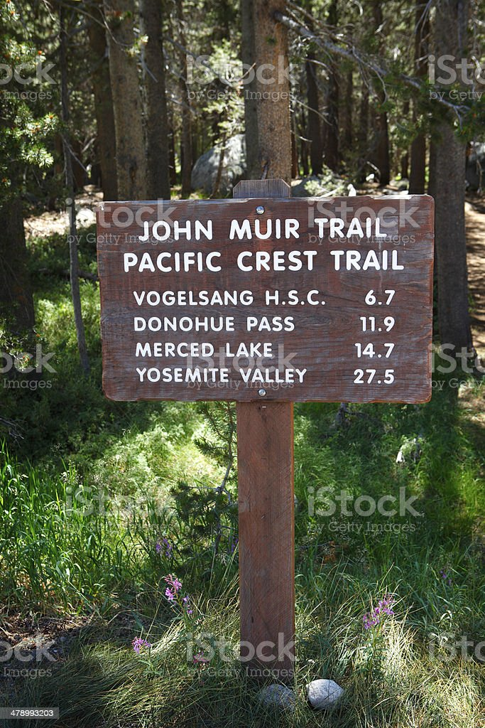 John Muir and Pacific Crest Trail Sign stock photo