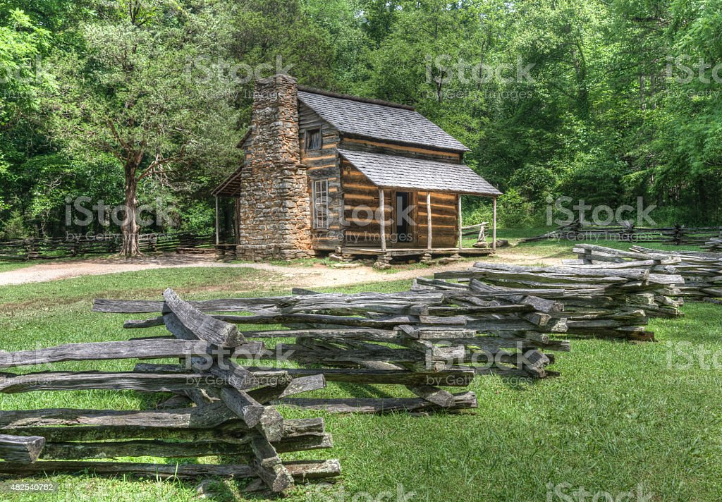 John Oliver Log Cabin, Great Smoky Mountains National Park stock photo