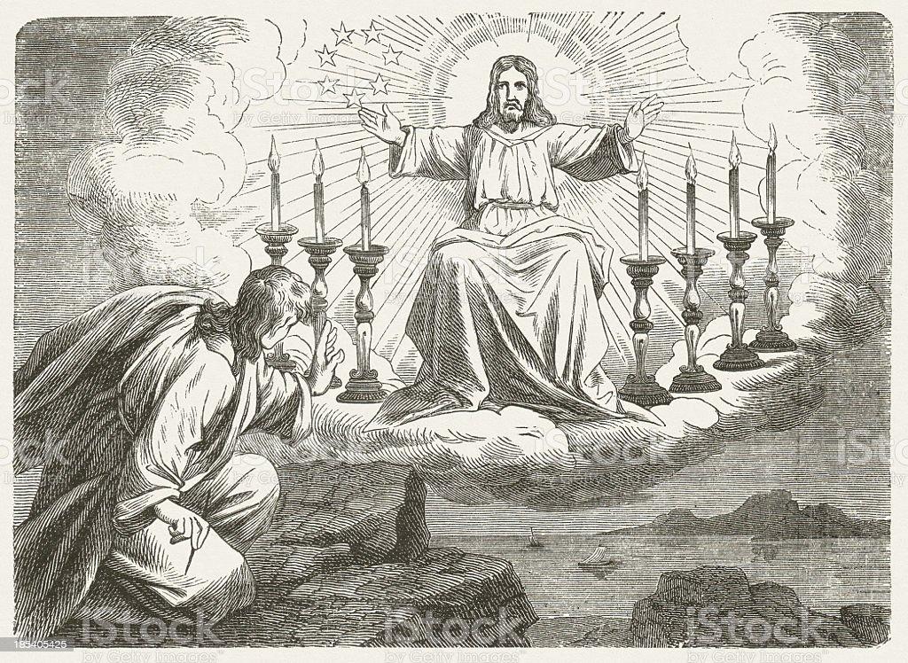 John on the island of Patmos (Revelation 1), published 1877 royalty-free stock photo