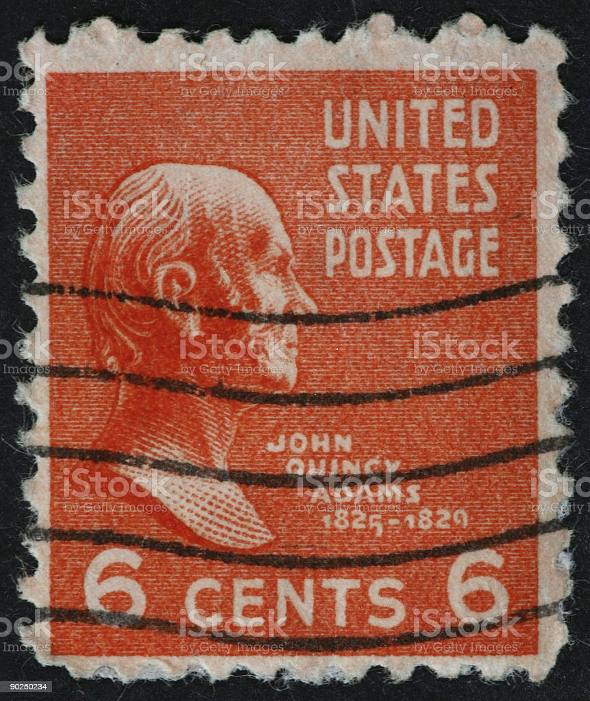 John Quincy Adams stamp stock photo