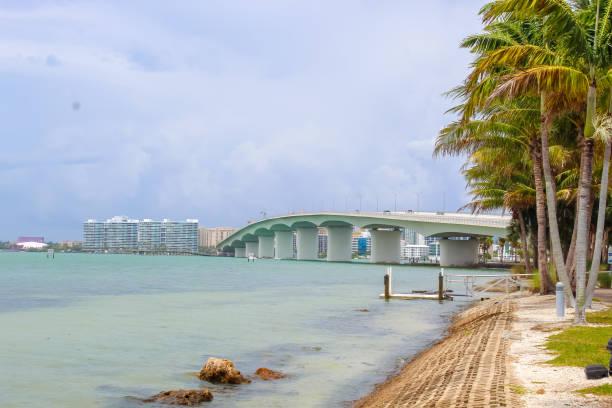 John Ringling Bridge from Bird Key Car Park just after a storm  - Sarasota, Florida stock photo