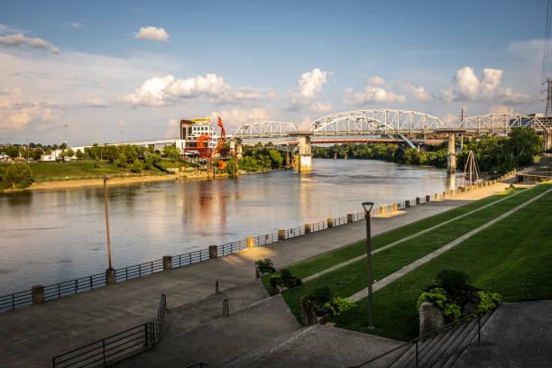 John Seigenthaler Pedestrian Bridge in Nashville stock photo