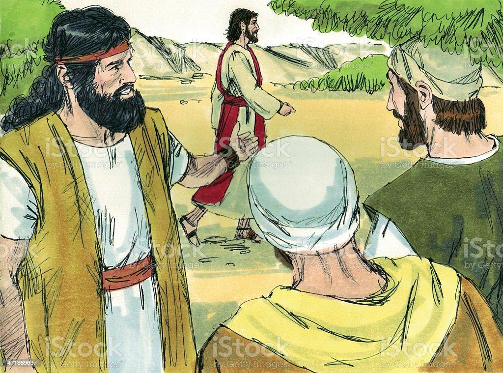 John the Baptist and Followers stock photo