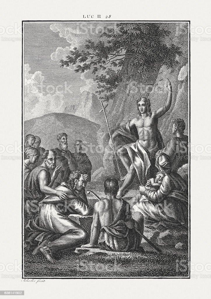 John the Baptist preaching in the desert (Luke 2) stock photo