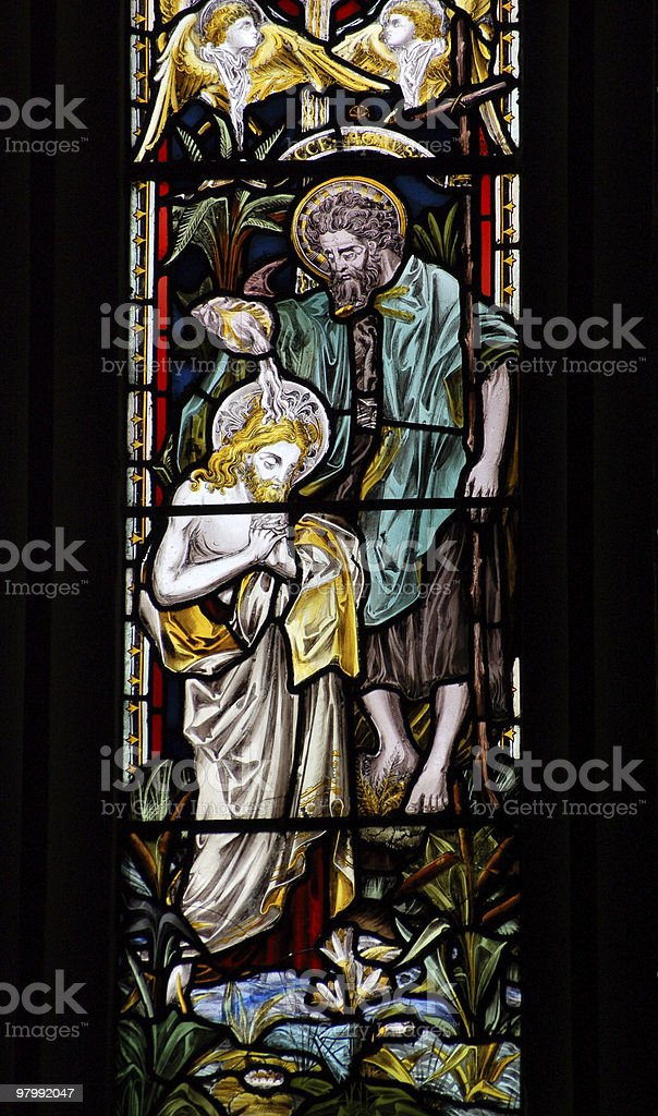 John the Baptist stained glass window royalty-free stock photo