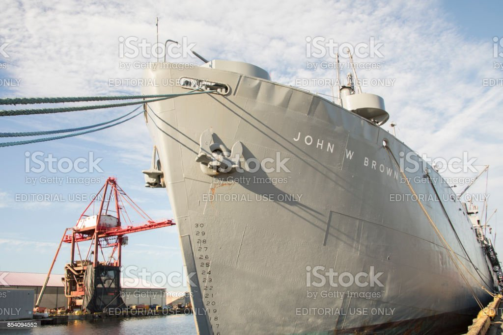 USS John W Brown Liberty Ship and crane in Port of Baltimore stock photo